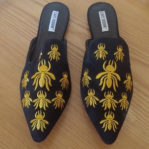 Cape Robbin Black Insect Embroidered Mules